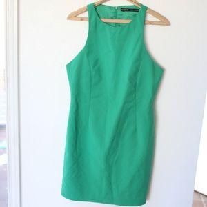 zara basic kelly green mini dress